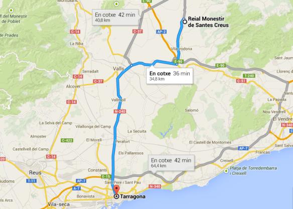 Mapa de ruta Tarragona a Santes Creus