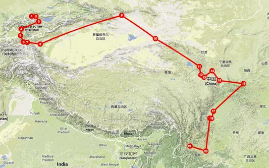 Mapa ruta de la seda Xina